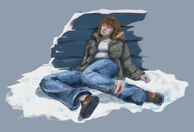 Digital work. This poor soul has died of an infected wound she got from a wolf bite. She fought the wolf off but she didn't have any antiseptic or antibiotics so it was just a matter of time when the wound became infected. Concept fan art for The Long Dark